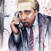 Nicolas Cage A Vampire's Kiss Watercolor Art Poster by Olga Shvartsur