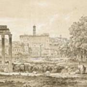 Nicolas-didier Boguet   1755 - 1839   View Of The Roman Forum With The Temple Of Castor Poster