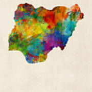Nigeria Watercolor Map Poster
