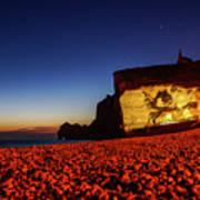 Night At Etretat Beach Poster