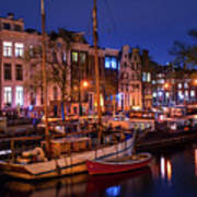 Night Lights On The Amsterdam Canals 7. Holland Poster
