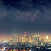 Night Los Angeles Skyline Poster