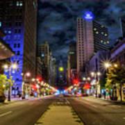 Night Shot Of Broad Street - Philadelphia Poster