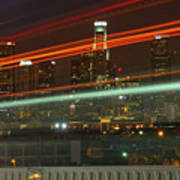 Night Shot Of Downtown Los Angeles Skyline From 6th St. Bridge Poster
