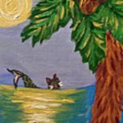 Night-swimming Mercat Poster
