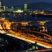 Night Traffic Over Han River In Seoul Poster