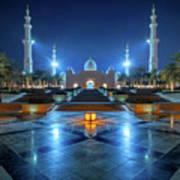 Night View At Sheikh Zayed Grand Mosque, Abu Dhabi, United Arab Emirates Poster