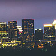 Night View Of Downtown Skyline In Winter Poster