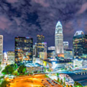 Night View Scenes Around Charlotte North Carolina Poster