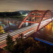 Nighttime Boats Cruise Up And Down The Loop 360 Bridge, A Boaters Paradise With Activities That Include Boating, Fishing, Swimming And Picnicking - Stock Image Poster