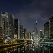 Nighttime Chicago River And Skyline View Poster