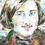 Nikolai Gogol - Watercolor Portrait Poster