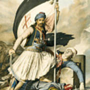 Nikolakis Mitropoulos Raises The Flag With The Cross At Salona On Easter Day 1821 Poster