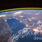 Nile River At Night From Iss Poster
