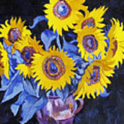 Nine Sunflowers With Black Background Poster