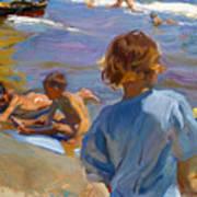 Ninos En La Playa. Valencia Poster