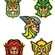 Norse Gods Mascot Collection Poster