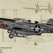North American F-82b Twin Mustang - Profile Art Poster