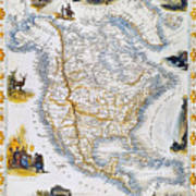North American Map, 1851 Poster