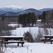 North Conway Winter Mountains Poster