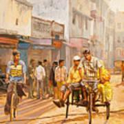 North India Street Scene Poster