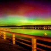 Northern Lights Over Okanagan Lake Canada Poster