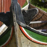 Norway, Reine, Boat In Fishing Village Poster