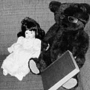 Nostalgic Doll And Bear With Reading Book Poster
