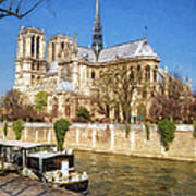 Notre Dame And The Seine Painterly Poster