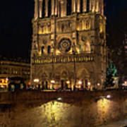 Notre Dame Night Painterly Poster