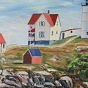 Nubble Light House Maine Poster