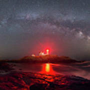 Nubble Light Milky Way Panorama  Poster