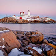 Nubble Winter Dusk Poster by Susan Cole Kelly