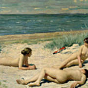 Nude Bathers On The Beach Poster