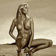 Nude Blond Beauty Sepia Poster