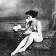 Nude Drinking Tea, 19th Ct Poster
