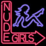 Nude Girls Neon Sign Poster