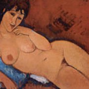 Nude On A Blue Cushion Poster