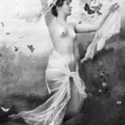 Nude With Butterflies Poster