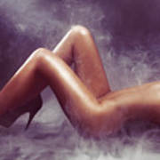 Nude Woman Body In Clouds Of Smoke Poster