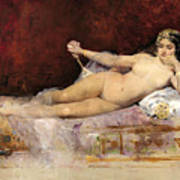 Nude Woman On An Ottoman Poster