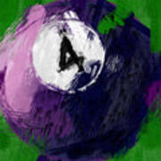 Number Four Billiards Ball Abstract Poster
