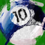Number Ten Billiards Ball Abstract Poster