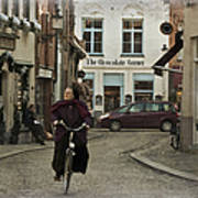 Nun On A Bicycle In Bruges Poster