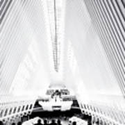 Nyc- Inside The Oculus In Black And White Poster