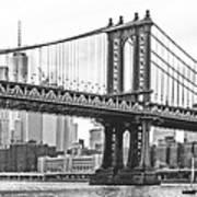 Nyc Manhattan Bridge In Black And White Poster