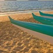 Oahu, Outrigger Canoes Poster by Tomas del Amo - Printscapes