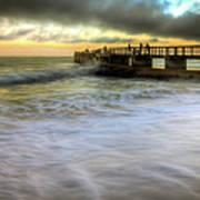 Ocean Fishing Pier Sunrise Poster