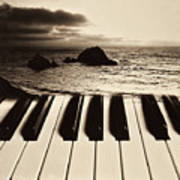 Ocean Washing Over Keyboard Poster by Garry Gay