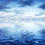 Ocean With Calm Waves Background With Dramatic Sky Poster